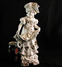 "RARE 14"" Antique CA 1877 German Porcelain Bisque Figurine German Bisque Doll SC 