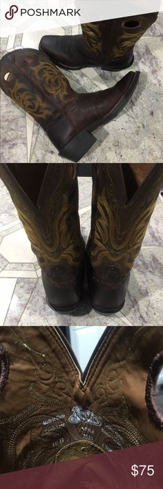 Men's Justin Cowboy Boots Men's Justin Cowboy Boots. Stampede Dark Brown. Size 10 D. Style 2523. Worn 10 times. Not even broken in. Just conditioned. Justin Boots Shoes Cowboy & Western Boots