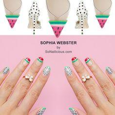 Sophia Webster Watermelon Nails by #SoNailicious. All details: http://sonailicious.com/watermelon-nails-sophia-webster/