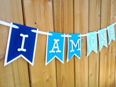 custom blue ombre 'ONE' banner, ONE, birthday banner, happy birthday banner, boy birthday, first birthday, I am one by JaeMakes on Etsy
