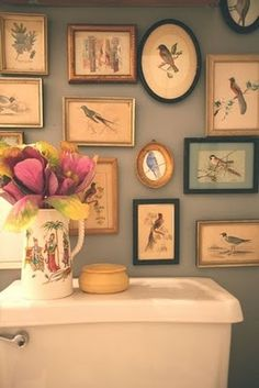 vintage bird prints | bathroom