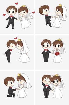 Wedding Couple Cartoon, Love Cartoon Couple, Chibi Couple, Cute Couple Drawings, Cute Couple Art, Cute Drawings, Wedding Illustration, Couple Illustration, Cute Love Cartoons