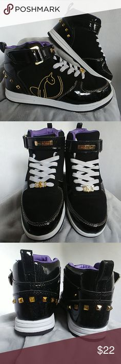ded3929f6ee7e5 Baby Phat Women s Hi Top Sneakers Women s Hi Top Sneakers Black with gold  accent and studs
