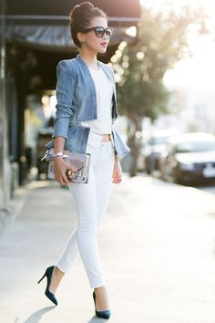 White Palette :: Flare denim jacket= This outfit rocks. So does her hair. Shoes. Sunglasses. And Purse.