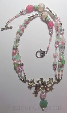 Lovebirds Necklace in pinks & greens... By Precious Gorgeous
