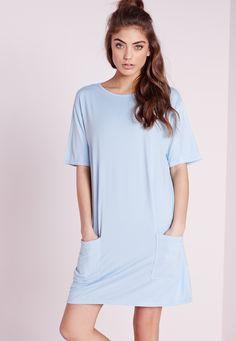 Missguided - Jersey Pocket Front T-Shirt Dress Powder Blue