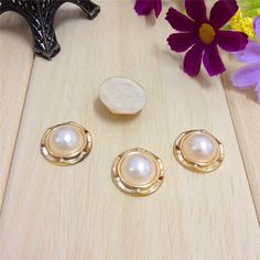 5pcs Pearl with Decorative Border / Round Pearlized by ZottoMolla