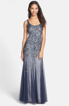 Adrianna Papell Beaded Mesh Tank Gown