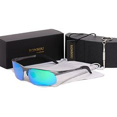 a2d0ae8caa2 Ronsou Men Sport AlMg Polarized Sunglasses Unbreakable For Driving Cycling  Fishing Golf gray framegreen lens   See this great product.