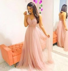 Pink V Neck Party Dress Tulle Beaded Prom Dress Long Prom Dress, Pink Evening Dress Prom Dresses Long Pink, Winter Formal Dresses, V Neck Prom Dresses, Tulle Prom Dress, Homecoming Dresses, Sexy Dresses, Fashion Dresses, Bridesmaid Dresses, Stylish Dresses