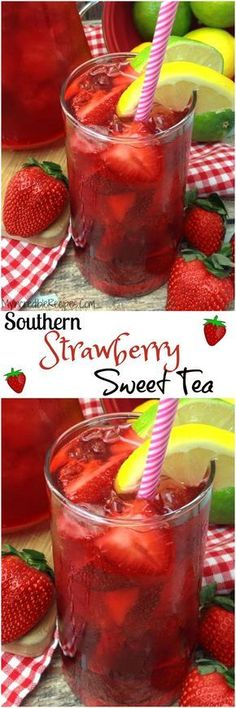 Southern Strawberry Sweet Iced Tea Divas Can Cook - Fresh Strawberries And Southern Sweet Tea Comes Together To Make One Refreshing Pure And Delicious Strawberry Sweet Iced Tea No Simple Syrup Needed Watch Me Make This Southern Strawber Fruit Drinks, Smoothie Drinks, Non Alcoholic Drinks, Party Drinks, Cocktail Drinks, Cold Drinks, Fun Fruit, Tea Party, Ice Tea Drinks