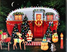 Christmas Trailer Canvas Art Print, Red and White Trailer Print, Vintage Trailer Art, Red and White Whimsical Christmas, Christmas Art, All Things Christmas, Vintage Christmas, Winter Christmas, Christmas Ideas, Xmas, Halloween Decorations, Christmas Decorations