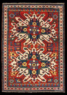 Kazak Adler, Caucaso sud-occidentale, seconda metà del XIX secolo, lana su lana, 193 x 140 cm