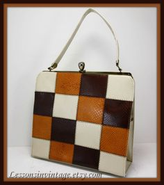 Vintage Faux Leather Patchwork Handbag by LessonsInVintage on Etsy