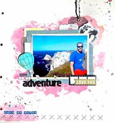 "Layout de scrapbook ""Every day is an adventure"" usando la técnica de ink smooshing"