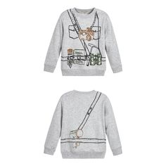 Boys grey marl cotton sweatshirt, with a soft woven backing, by Stella McCartney Kids. There is a large, adventure-themed print on the front and back, of a camera, tools and binoculars. It has a round neck, cuffs and hem in stretch cotton rib. The fit can be quite small, so Stella McCartney advises you to choose a size up if you want room to grow.