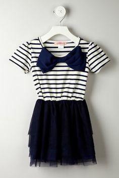 Striped Mesh Skirt Dress//