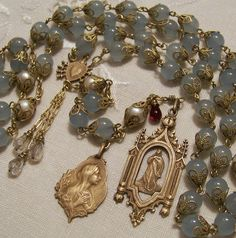 French Rosary ~ Mary Magdalene ~Bronze ~ Genuine Aquamarine  & Cultured Pearls ~