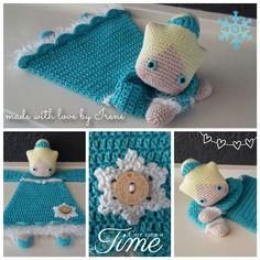 Irene haakt: Gehaakte lappenpop lappenpoppen a la sascha haak patroon haken haakpatroon Crochet Security Blanket, Crochet Lovey, Crochet Pillow, Crochet Doll Pattern, Crochet Gifts, Cute Crochet, Baby Blanket Crochet, Crochet For Kids, Crochet Dolls