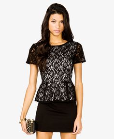 Floral Lace Peplum Top | FOREVER21 - 2035187622