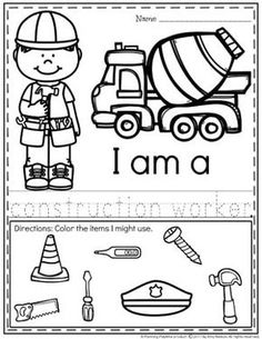 Community Helpers Worksheets - Construction WorkerTap the link to check out great fidgets and sensory toys. Check back often for sales and new items. Happy Hands make Happy People! Community Helpers Worksheets, Community Helpers Kindergarten, Kindergarten Units, School Community, Preschool Curriculum, Preschool Themes, Preschool Printables, Preschool Worksheets, Homeschool
