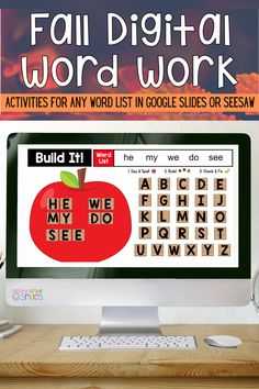 Missing your hands-on word work center this fall? This digital work word center set includes interactive word work activities for any word list in Google Slides or Seesaw. Letter tiles are moveable! Use them again and again with any spelling words or sight word list. These fun activities are ideal for both distance learning and everyday classroom use in first grade or second grade! Digital Word, Word Work Centers, Sight Words List, Word Work Activities, Teaching First Grade, Spelling Words, Classroom Setting, Second Grade, List Of Sight Words