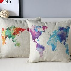 https://www.etsy.com/listing/213040888/world-map-watercolor-paint-arty-linen @sharonlhes