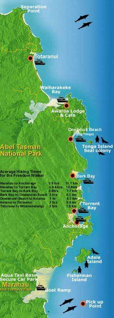 Map of Abel Tasman National Park