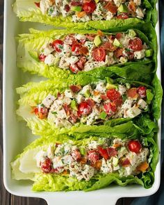 BLTA Chicken Salad Lettuce Wraps (Cooking Classy) It's been a while since I've shared a lettuce wrap recipe but every now and then I like to add them into our dinner rotation. One of my favorite lettuce wrap recipes are these Turkey Taco Lettuce Wrap Healthy Meal Prep, Healthy Snacks, Healthy Eating, Dinner Healthy, Eating Clean, Healthy Wrap Recipes, Healthy Lunch Ideas, Diet Snacks, Paleo Dinner