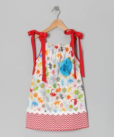 White & Red Chevron Kittens Dress - Toddler & Girls