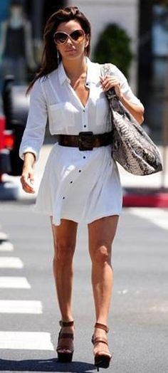 Eva Longoria in a breezy white Heartloom dress.