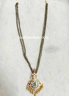 Black beads chain with diamond pendant photo