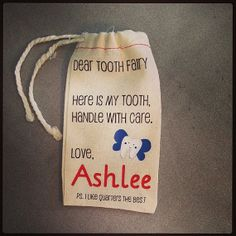 Items similar to Tooth Fairy muslin bag - Personalized with your child's name on Etsy Pick Your Plum, Christmas Craft Fair, Crafts For Kids, Diy Crafts, Muslin Bags, Drawstring Pouch, Tooth Fairy, Father And Son, Craft Fairs