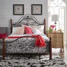 TRIBECCA HOME Madera Graceful Scroll Bronze Iron Metal Full-sized Bed overstock