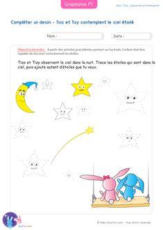 PDF Fiche de Graphisme Petite Section Compléter un dessin. Exercice de Maternelle PS à imprimer pour s'exercer aux traits en complétant un dessin.
