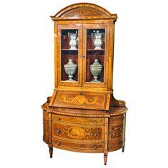 Antique Italian Marquetry Secretary Bookcase. Excellent condition, one bottom knob missing at the front door left door. Circa 1870