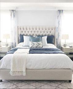 Traditional Master Bedroom Design Mirror 38 Ideas For 2020 Blue Master Bedroom, Master Bedroom Design, Home Decor Bedroom, Blue Bedrooms, Blue Gray Bedroom, Blue Bedding, Linen Comforter, Bedding Decor, Blue Throw Pillows
