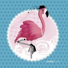 """Coupon illustré pour couture créative. """"Le Flamant rose"""" fond bleu. Disponible également sur les précommandes tous les 2 mois (page facebook de nidillus)."""