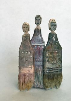 "REBECCA SZETO  Life's Little Unknowns Ode to Child Factory Workers 4.75""h x 3""w x .75"" d  2016 Rebecca Szeto takes found objects and transforms them into magical anthropomorphic forms.  In her brush series, well-worn paint brushes are whittled, carved, and painted so their handles become people.  This work represents the children who worked in the factories of New York before the progressive labor reform of the early 20th century."