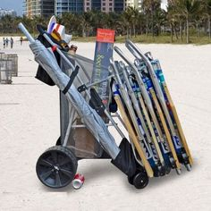 Super Ultra Wide Wheel Wonder Wheeler Beach Cart w/ BodyBoard holder for sale online Treadmills For Sale, Camping Furniture, Camping Chairs, Beach Cart, Wheelbarrow Garden, Silver Mist, Easy Rolls, Beach Items