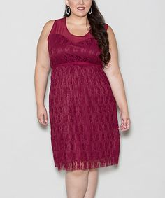 Another great find on #zulily! Burgundy Loretta Dress - Plus by Sealed With a Kiss Designs #zulilyfinds