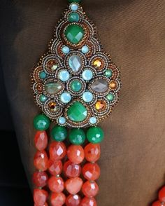 Carnelian , Green Jade & Labradorite 3 Strand Necklace