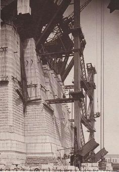 Construction of one of the pylons on the Sydney Harbour Bridge 1931