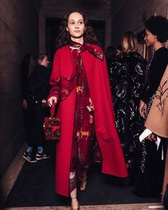 Steal the scene. Our red chenille jacquard mini Alibi bag is the perfect match for our crimson textured wool cashmere coat and enchanted forest silk chiffon dress. Cashmere Coat, Silk Chiffon, Chiffon Dress, Lela Rose, Petite Fashion, Perfect Match, Color Combinations, Beautiful Outfits, Personal Style