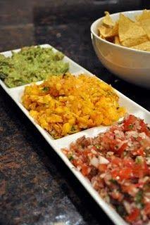 Fresh salsa trio... guacamole, pico de gallo, and peach salsa
