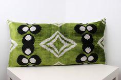 Velvet ikat Pillow Bohemian Decor Green Black White Eclectic   Etsy Ikat Pillows, Velvet Pillows, Pillowcase Pattern, Traditional Decor, Bohemian Decor, Silk Fabric, Cushions For Sale, Handicraft, Living Room Pillows