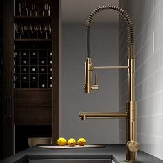 Kraus Artec Pro Commercial Style Pre-Rinse Kitchen Faucet with Pull-Down Spring Spout and Pot Filler, Inch, Brushed Gold in Touch On Kitchen Sink Faucets. Black Kitchens, Cool Kitchens, Dream Kitchens, Small Kitchens, Home Interior, Kitchen Interior, Interior Design, Coastal Interior, Interior Modern