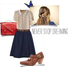 Polka dot, peter pan collar top, blue jean skirt, brown mary-janes, and a red purse