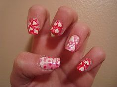 Valentines Love Day nail art manicure! Love the hearts!