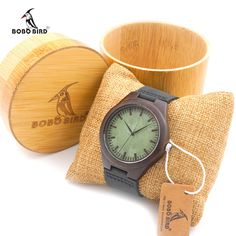 Men's BOBO BIRD Wood Wristwatch With Leather Bands & Bamboo Box